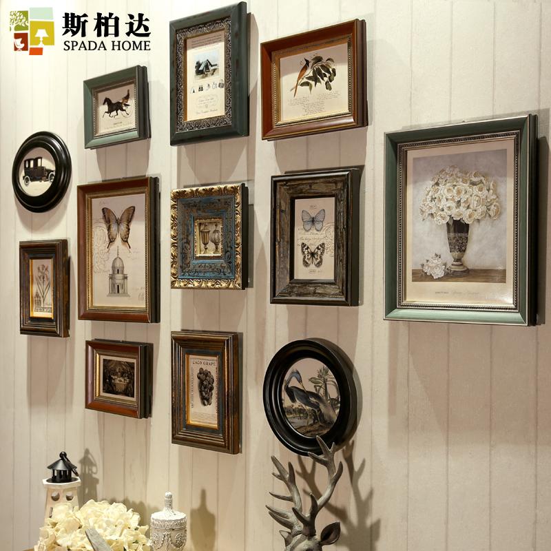斯柏达欧式实木照片墙客厅玄关美式复古相框墙创意挂