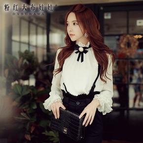 长袖衬衫女粉红大布娃娃2016秋新款韩版气质修身拼蕾丝蝴蝶结上衣