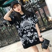 春夏女装韩版时尚卡通印花中长款套头宽松短袖T恤情侣款上衣学生