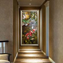 中式古典玄关装饰画竖版手绘油画九鱼图锦鲤走廊过道壁炉挂画壁画