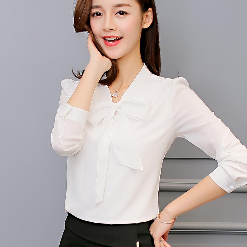 彩黛妃2017春夏季新款韩版女装百搭衬衣长袖打底白衬衫上衣雪纺衫