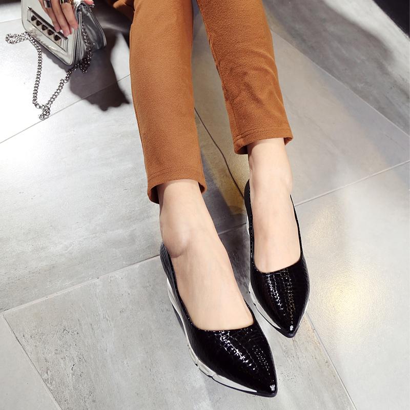 新款坡跟单鞋欧美尖头高跟单鞋女时尚春季豹纹女鞋潮