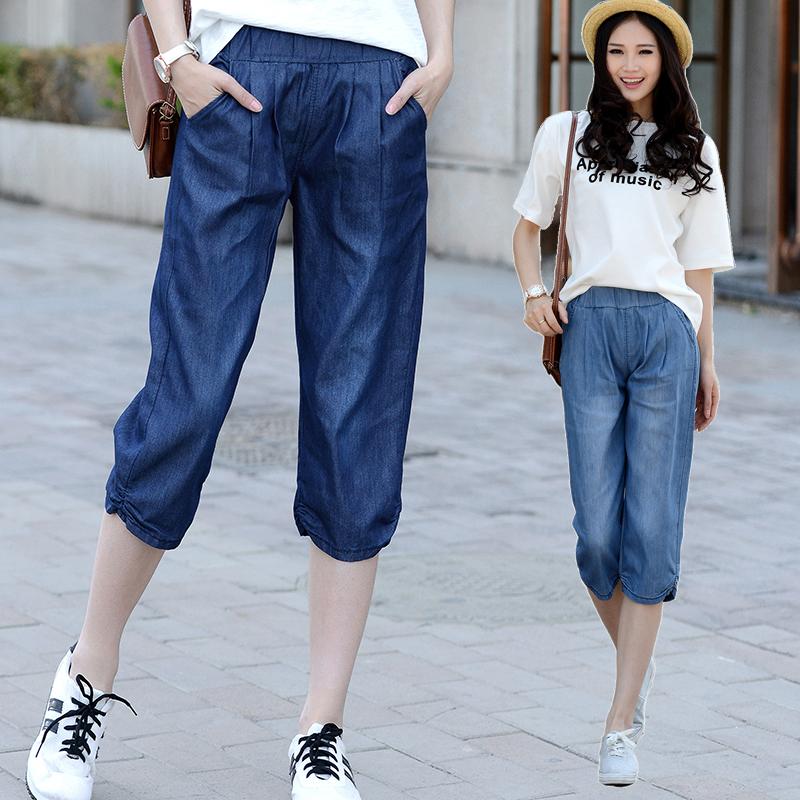 天丝七分牛仔裤女超薄2017夏季新款大码松紧腰宽松直筒高腰中裤子