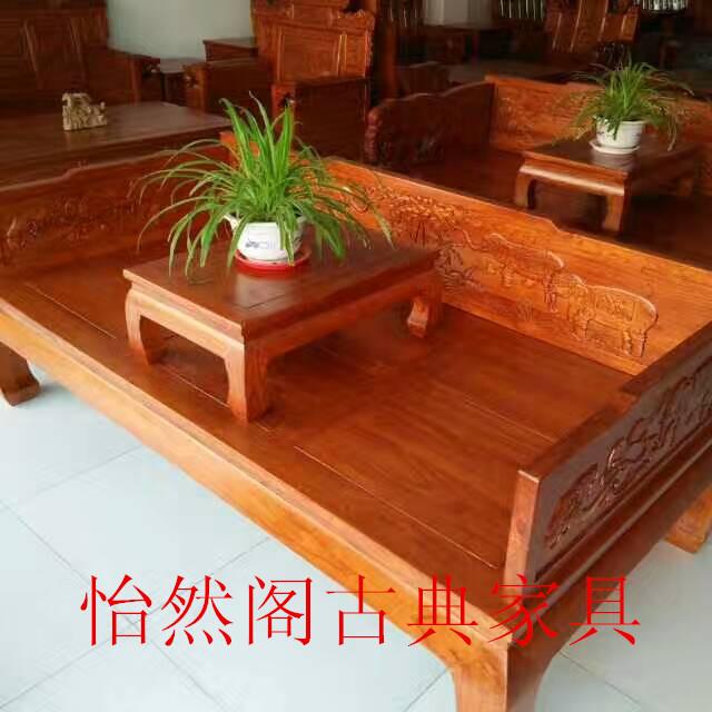 北方实木罗汉床炕桌老榆木罗汉床复古 明清仿古家具古典沙发床