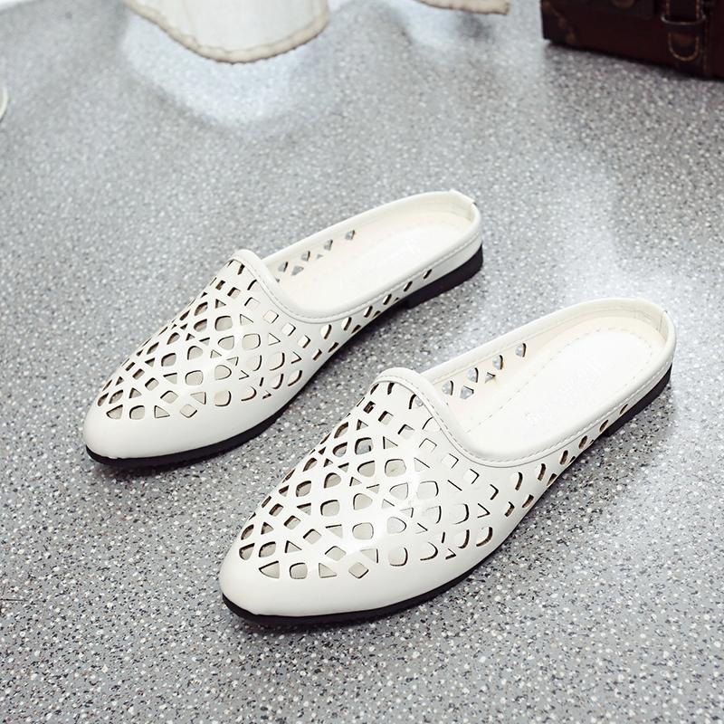 平底尖头镂空拖鞋欧美包头时尚夏季