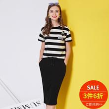 贴布刺绣条纹短袖 OSA欧莎2016夏季女装 女套装 时尚 3件6折