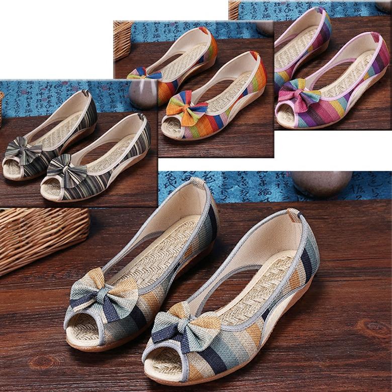 亞麻防滑布鞋媽媽孕婦平底坡跟休閑夏季涼鞋老北京