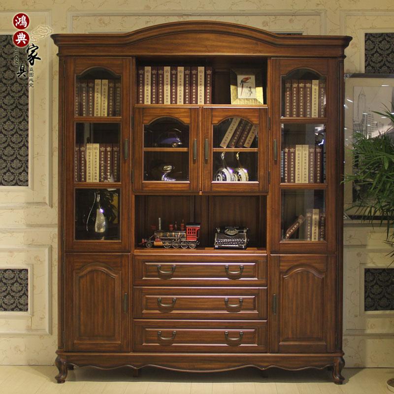 实木家具书柜书架组合胡桃木美式乡村书橱书房家具带