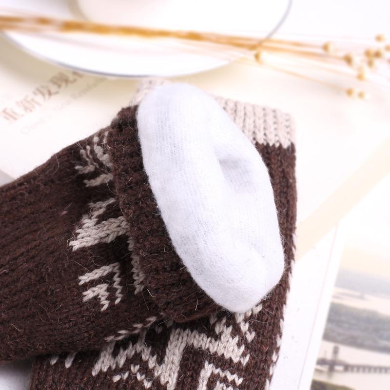 秋冬保暖手套男女通用毛线无指手套半截手套 羚羊早安特卖