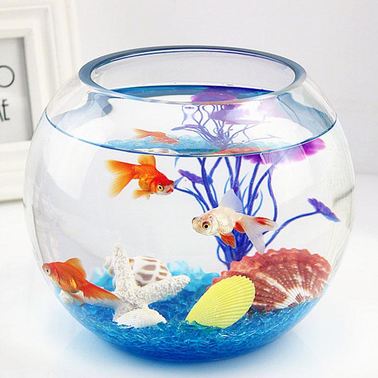 小型鱼缸透明圆形鱼缸小鱼缸 玻璃开放式创意家用金鱼图片