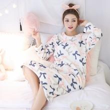 珊瑚绒加厚可爱秋季韩版 学生清新公主法兰绒甜美睡裙 睡衣女冬长袖