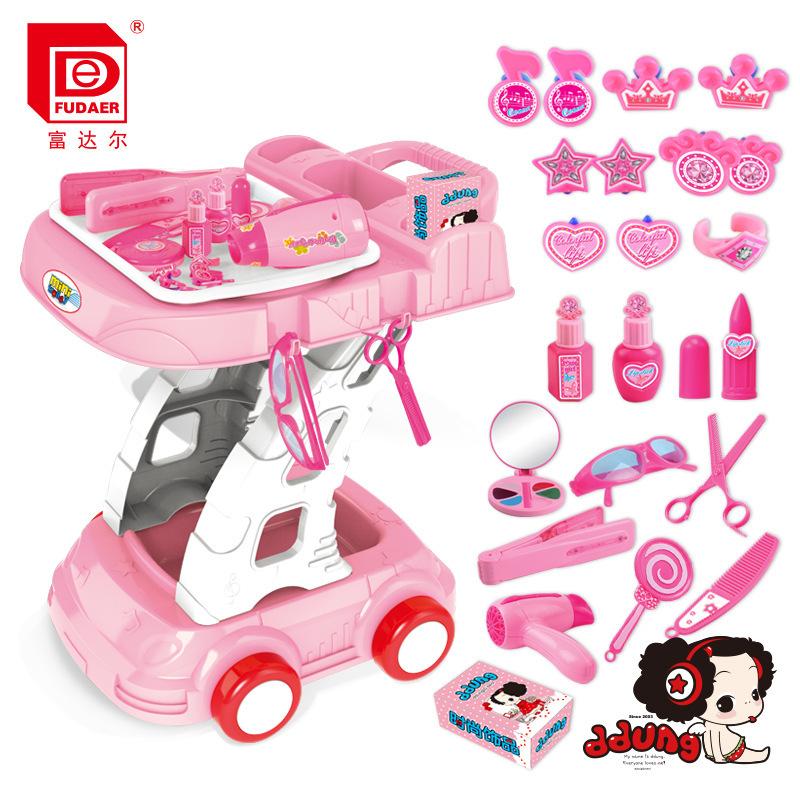 包邮冬已正品授权仿真饰品小推车玩具 女孩过家家玩具 美容推车