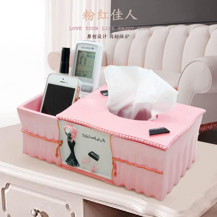 创意多功能纸巾盒欧式时尚可爱魅力粉色妩媚造型树脂抽纸盒纸巾筒