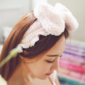 兔耳朵束发带洗脸发箍韩国可爱头饰面膜运动化妆包