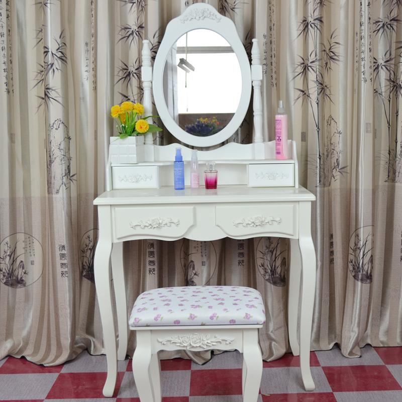 梳妆台小欧式田园化妆台镜象牙白电脑桌房间桌简约木