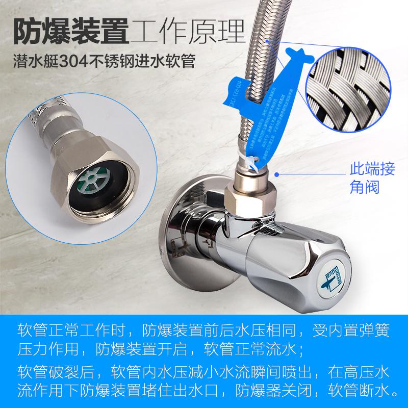 潜水艇4分软管水管 冷热马桶热水器龙头不锈钢金属管