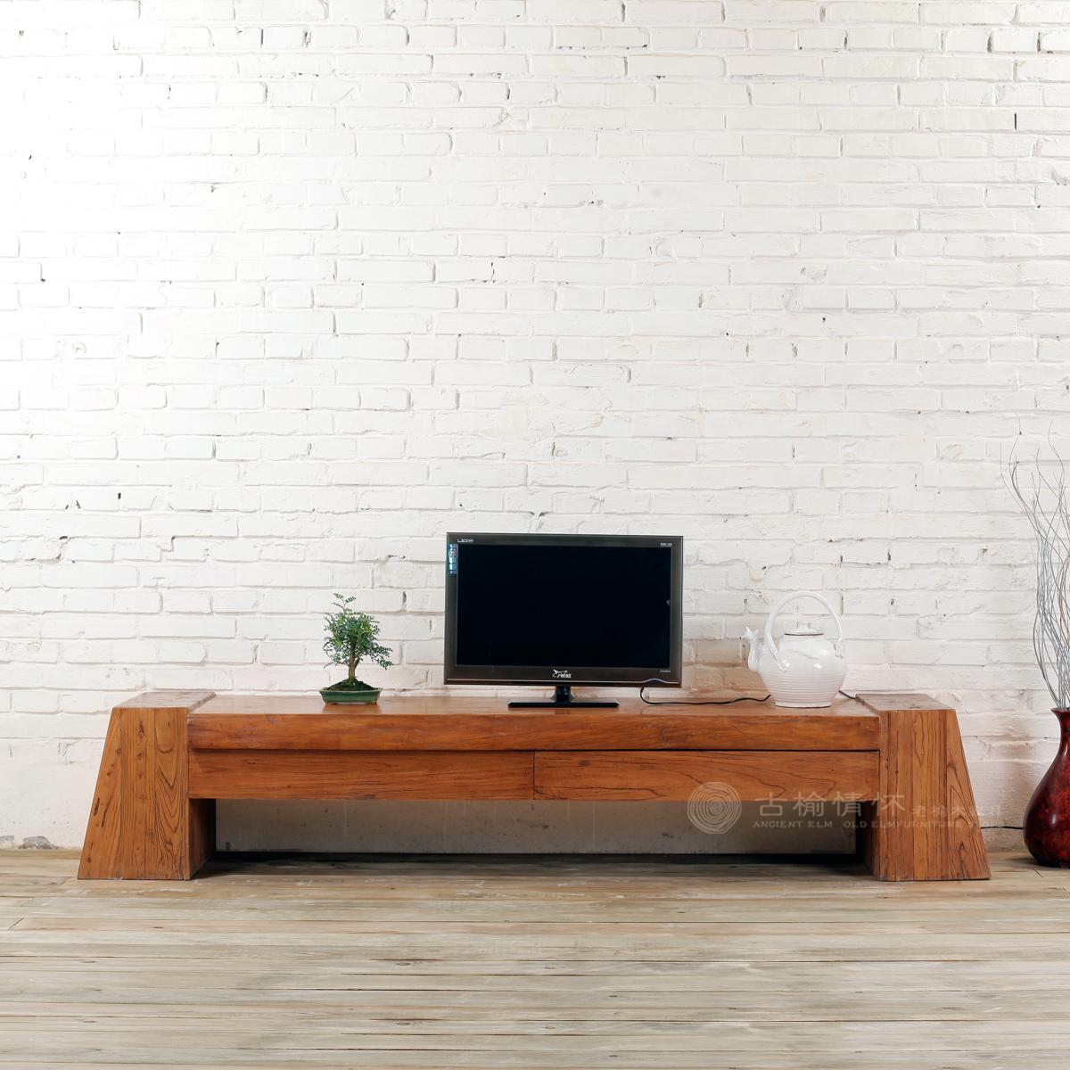 古榆情怀老榆木家具韩式田园实木电视柜简约现代厚重