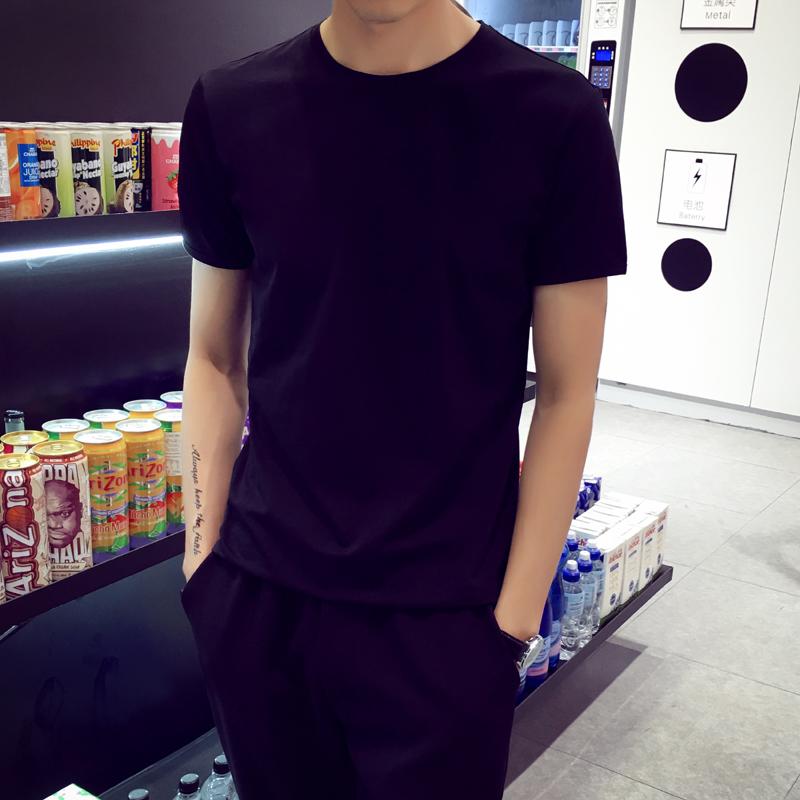 男士纯色圆领短袖t恤