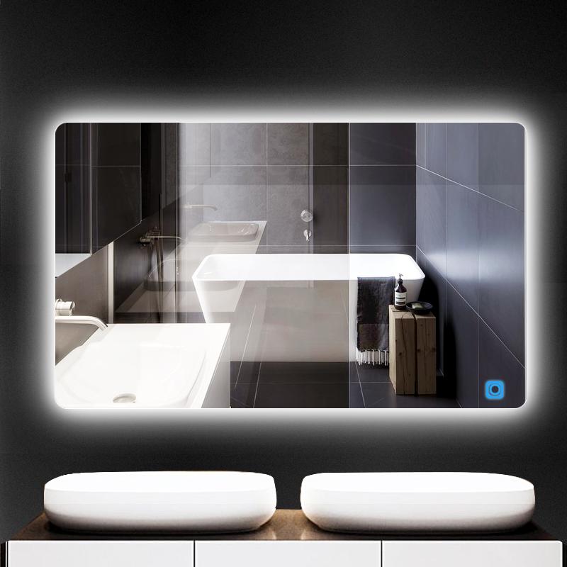无框浴室镜壁挂镜子卫生间化妆镜带灯镜防雾带灯镜子led智能