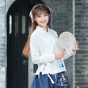 长袖汉服2017春季新款民族风女装中国风绣花改良复古系带交领上衣