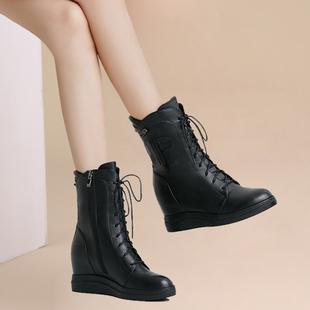 靴子女2017新款坡跟内增高马丁靴春秋季中筒靴厚底中靴牛皮短靴冬