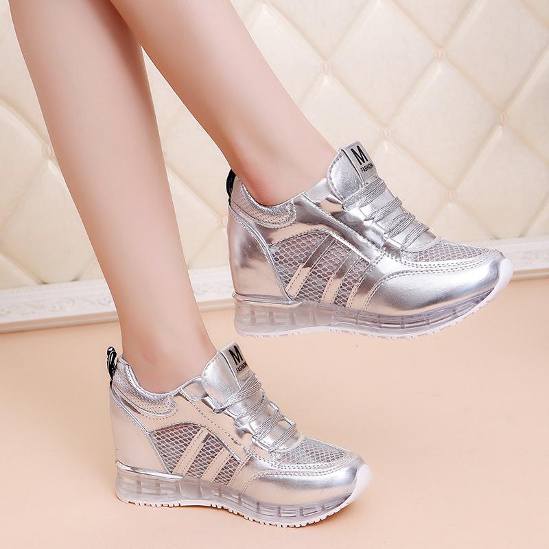 休闲鞋运动鞋网鞋厚底韩版百搭增高坡跟透气网纱内夏季