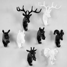 美式壁饰立体鹿头装饰挂钩壁挂钩客厅卧室墙面装饰创意动物头挂钩