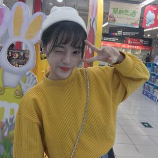 秋装女装韩版原宿风宽松小立领坑条卫衣薄款外套学生长袖套头上衣