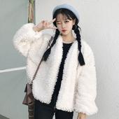 秋冬女装韩版宽松短款仿羊羔毛开衫外套学生保暖毛毛长袖外搭上衣