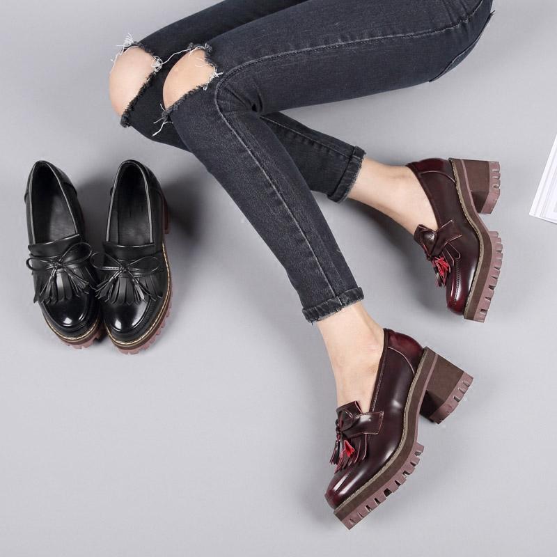 秋季新款单鞋厚底粗跟防水台黑色高跟鞋流苏英伦风女鞋学院小皮鞋 - 女鞋秋高跟