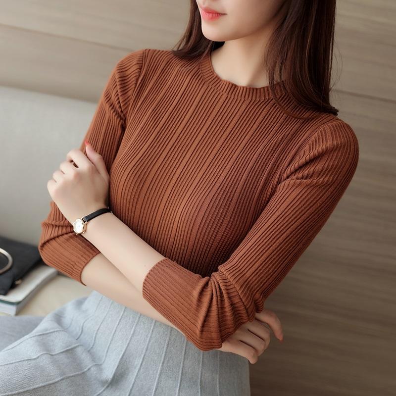 针织衫女套头秋季短款薄款长袖显瘦修身款百搭半高领弹力打底毛衣