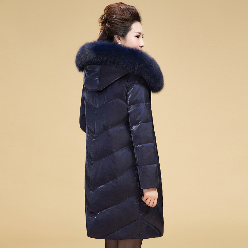 2017冬季新款中老年羽绒服女中长款大码加厚妈妈装毛领外套4050岁