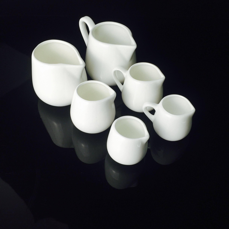 牛奶杯 陶瓷奶勺西式奶盅奶杯蜂蜜罐 有柄无柄奶勺