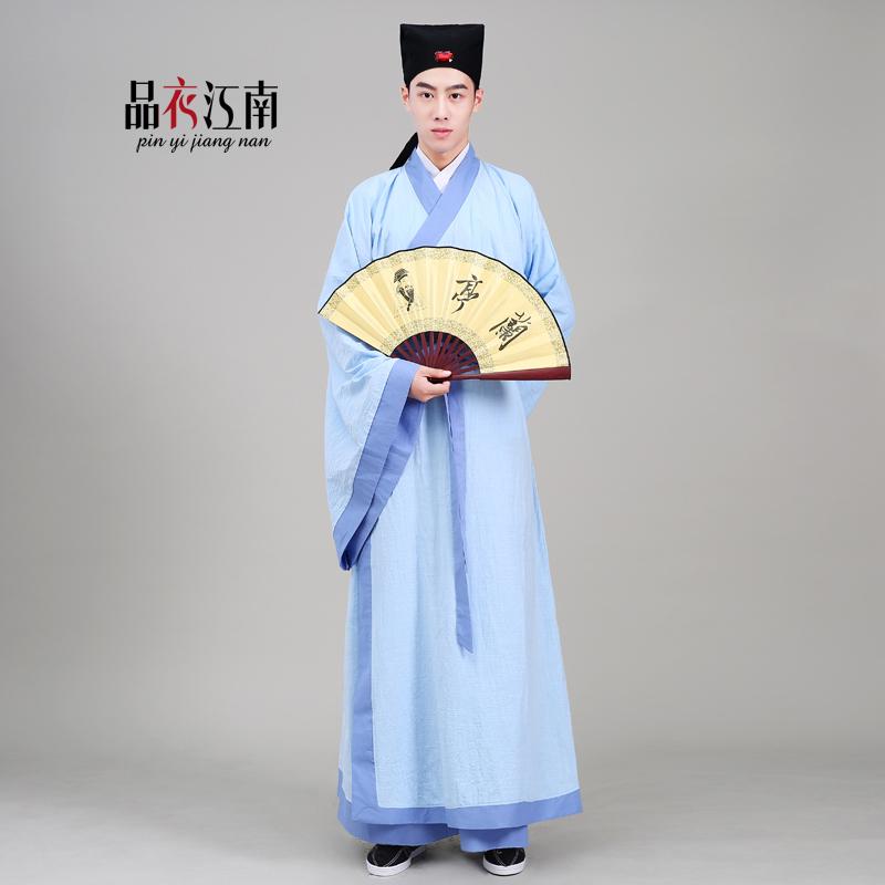 汉服男 新款棉麻传统男士形制古装汉服直裾表演出舞台国学服古装