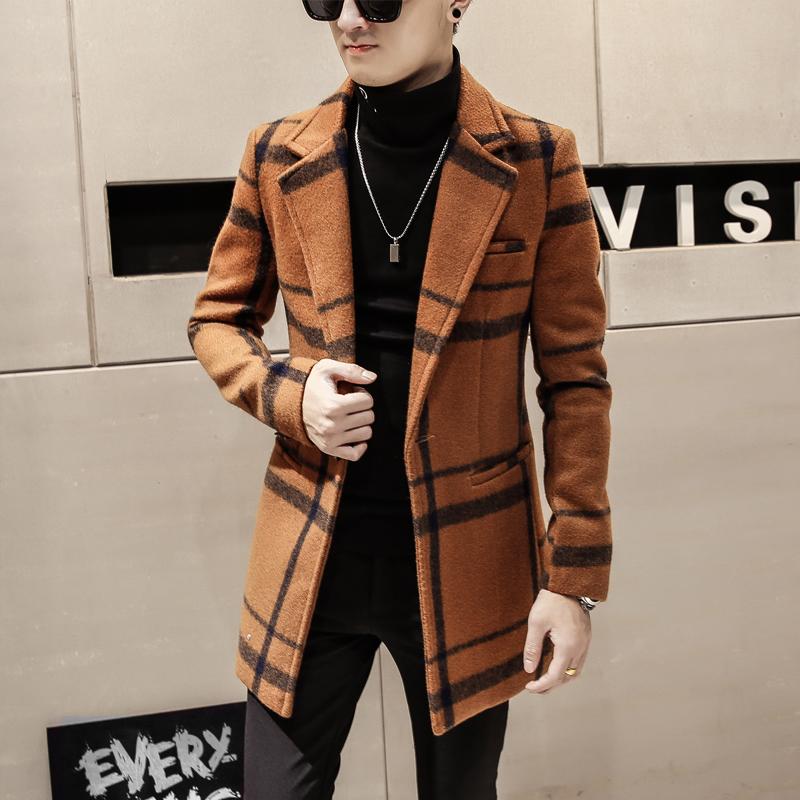呢绒大衣男英伦冬季韩版修身中长款妮子风衣格子男青年冬天外套潮