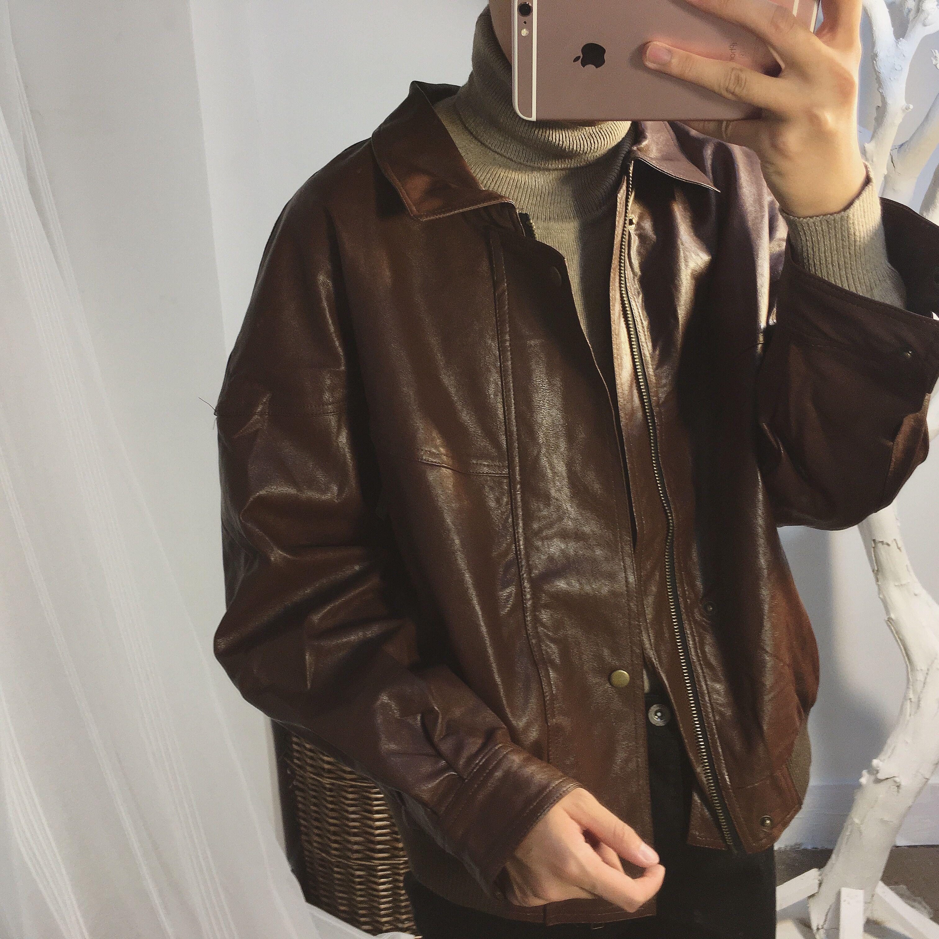 阿茶与阿古致敬80年代复古皮衣头二层拼接仿牛皮