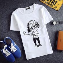 潮流体恤夏季半袖 上衣服 修身 大码 T恤男纯棉圆领印花韩版 短袖 夏装