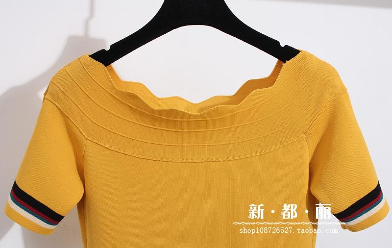 夏季新款露肩花边一字领撞色短袖针织衫韩版修身短款冰丝T恤女