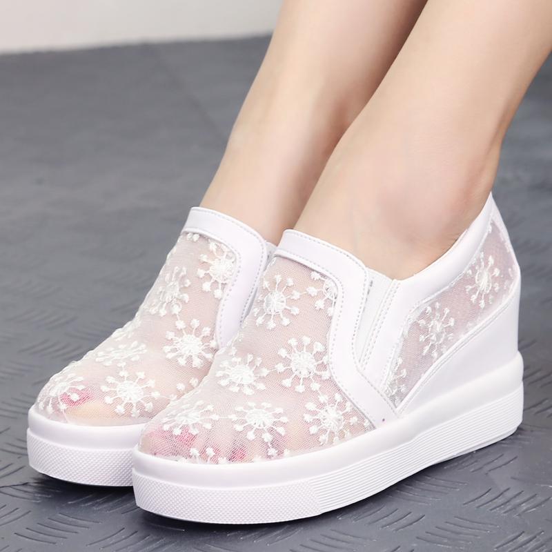 蕾絲涼鞋松糕厚底休閑坡跟女鞋平底透氣增高