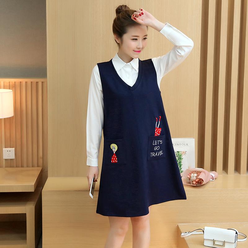 孕妇秋装连衣裙韩版时尚大码长袖白色衬衫中长款刺绣背心裙两件套图片