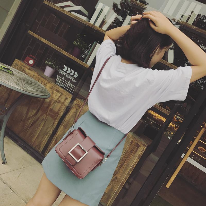 皮带扣复古小包单肩斜挎包女女包潮韩版百搭小方包包包