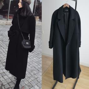 黑色系带呢子大衣女2017冬装新款韩版加厚中长款过膝显瘦毛呢外套