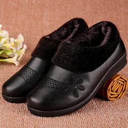 平底奶奶鞋子春秋老人皮鞋舒适妈妈鞋软底防滑单鞋平跟中老年女鞋