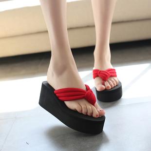 拖鞋女士夏季时尚外穿高跟坡跟防滑夹脚凉拖潮室外韩版厚底人字拖