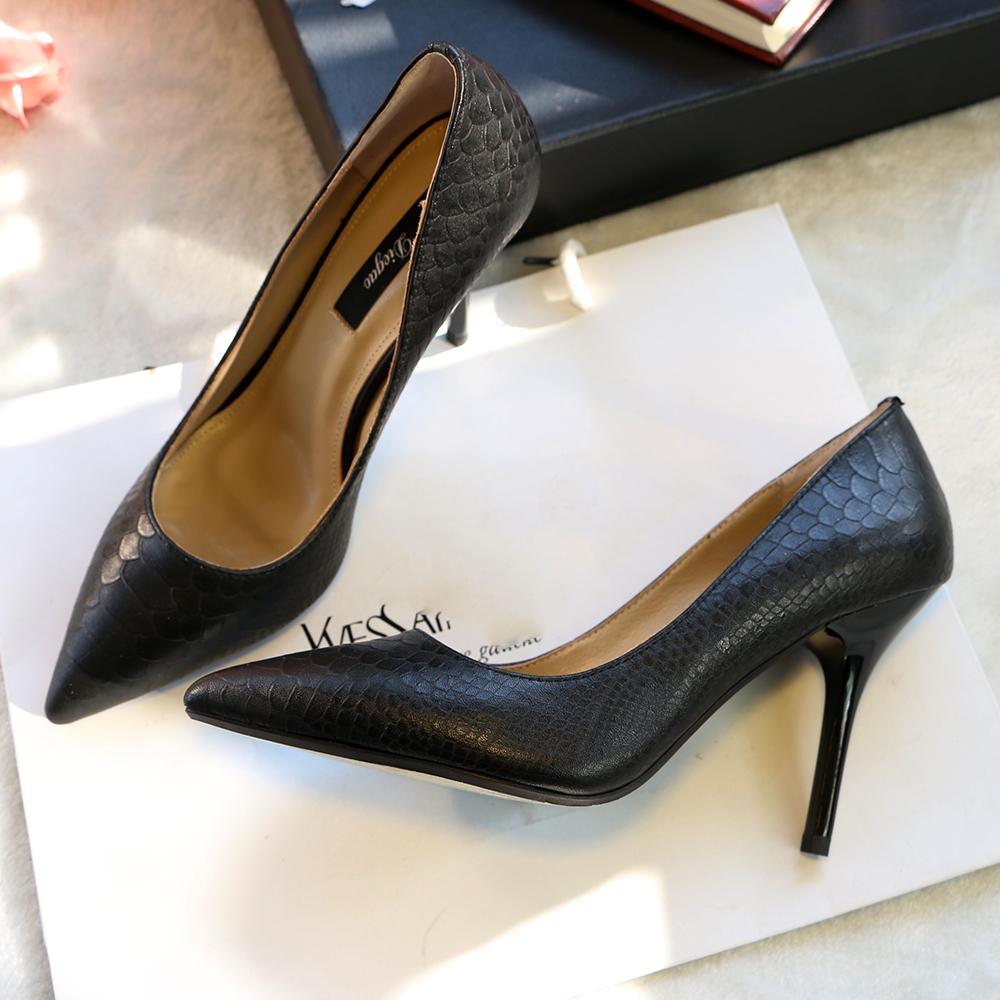 歐美性感純色蛇紋高跟鞋淺口牛皮淺口細跟尖頭小碼單鞋女鞋ol工鞋圖片
