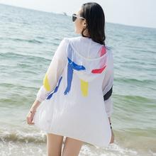 防晒衣女2017夏季新款宽松沙滩百搭超薄透气中长款大码白色短外套