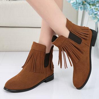16新款小码女鞋真皮磨砂流苏粗跟