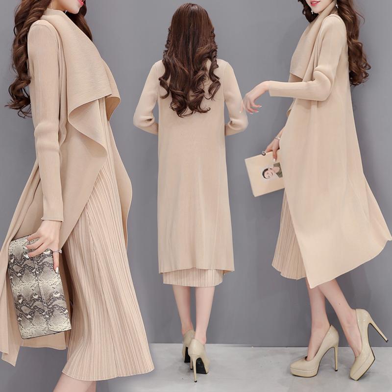 2016新款女装秋装韩版中长款套装连衣裙女大码长袖裙名媛气质长裙 - 连衣裙秋