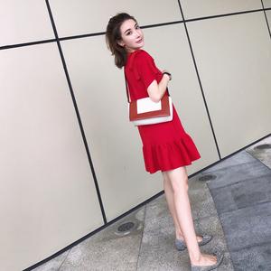 2017夏季新款女装秋装韩版显瘦红色直筒裙子小香风针织鱼尾连衣裙女装