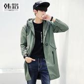 ifashion2017春装新款 男士外套 韩版男装中长款风衣外套连帽大衣